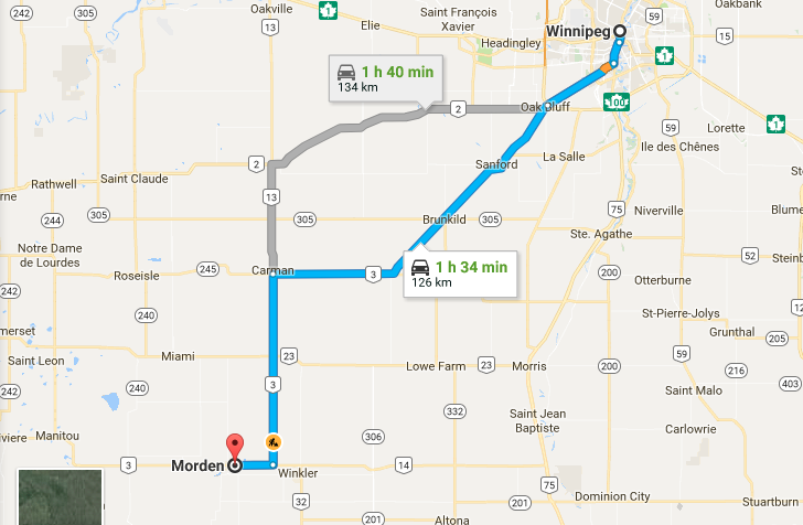 Winnipeg to Morden