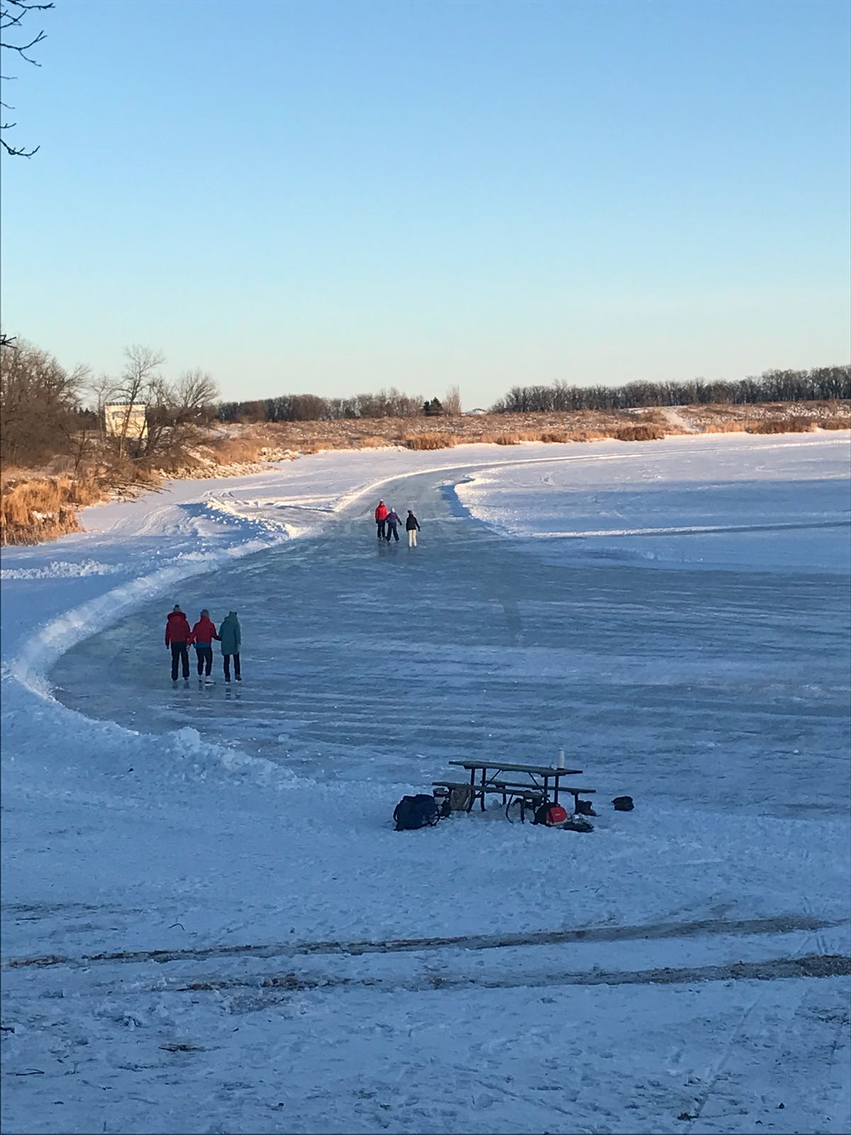 Ice rink during winter at Lake Minnewasta